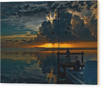 Sunset Tropical Storm And Watcher In Florida Keys Wood Print