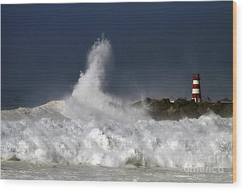 Storm Waves Wood Print by Boon Mee