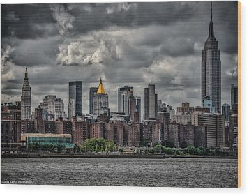 Wood Print featuring the photograph Storm Weather Over Nyc by Linda Karlin