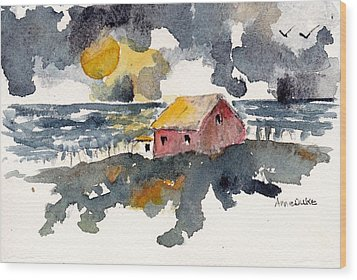 Wood Print featuring the painting Storm's Over by Anne Duke