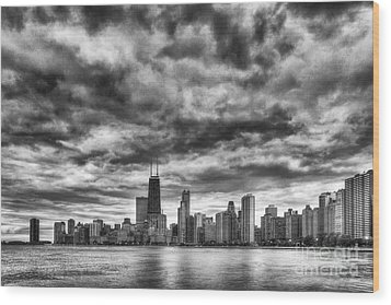 Storms Over Chicago Wood Print