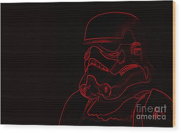 Wood Print featuring the digital art Stormtrooper In Red by Chris Thomas