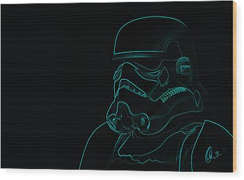 Wood Print featuring the digital art Stormtrooper In Teal by Chris Thomas