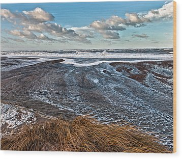 Stormy Beach Wood Print