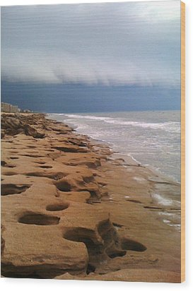 Stormy Coquina Wood Print by Julie Wilcox