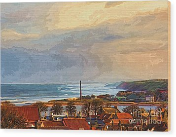 Stormy Day At Berwick - Photo Art Wood Print