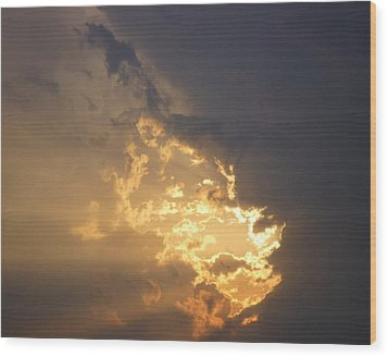 Wood Print featuring the photograph Stormy Fiery Sunset by Bill Woodstock