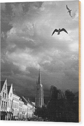 Stormy Gulls  Wood Print