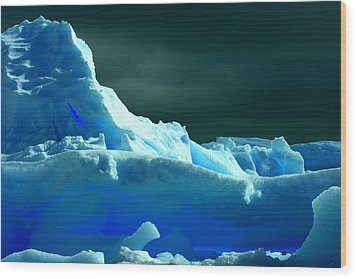 Wood Print featuring the photograph Stormy Icebergs by Amanda Stadther