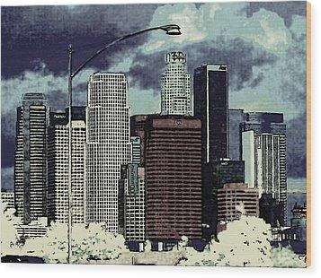stormy Los Angeles from the freeway Wood Print by Jodie Marie Anne Richardson Traugott          aka jm-ART