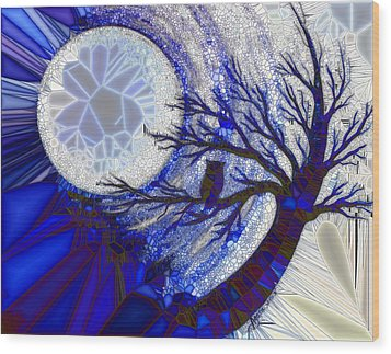 Stormy Night Owl Wood Print by Agata Lindquist