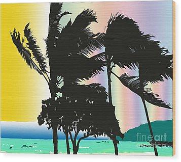Stormy Palms Wood Print by Karen Nicholson