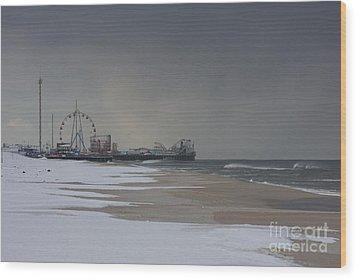 Stormy Piers Wood Print by Laura Wroblewski
