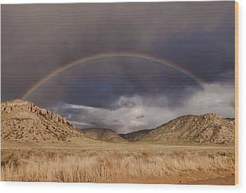 Stormy Rainbow Wood Print