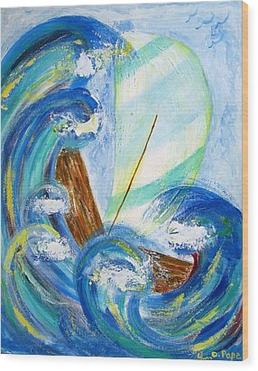 Stormy Sails Wood Print by Diane Pape
