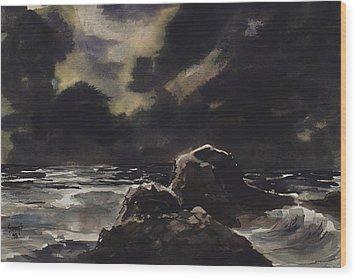 Stormy Sea Wood Print by Sam Sidders