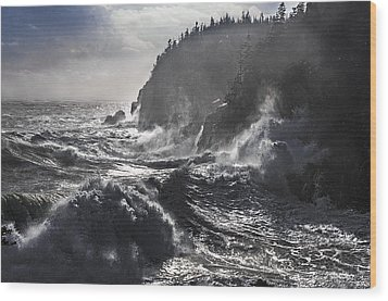 Stormy Seas At Gulliver's Hole Wood Print by Marty Saccone