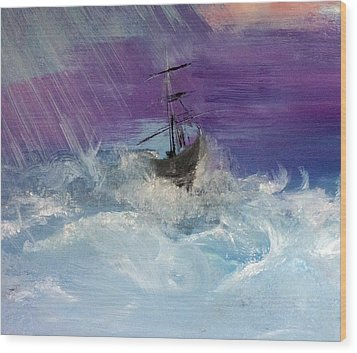 Stormy Seas Wood Print by Lisa Kaiser