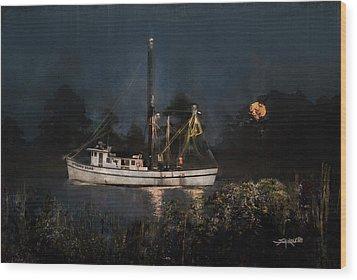 Stormy Seas Moonrise Return Wood Print