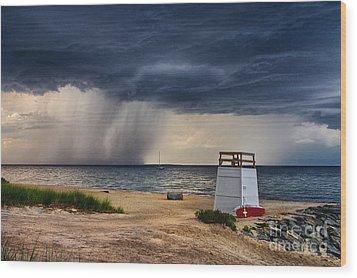 Stormy Seashore Wood Print
