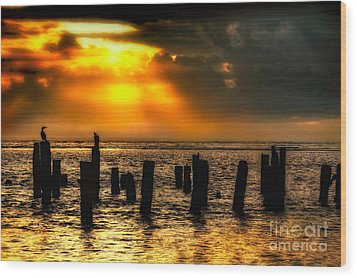 Stormy Skies At Sunrise Outer Banks Wood Print by Dan Carmichael