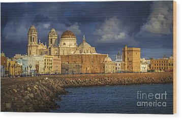 Stormy Skies Over The Cathedral Cadiz Spain Wood Print
