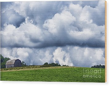 Stormy Sky And Barn Wood Print by Thomas R Fletcher