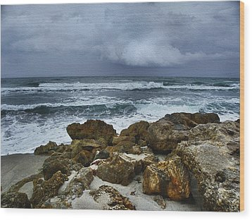 Stormy Sky And Ocean Waves Wood Print by Julie Palencia
