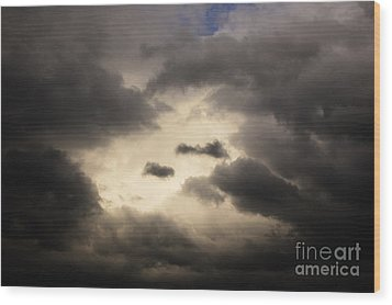 Stormy Sky With A Bit Of Blue Wood Print by Thomas R Fletcher
