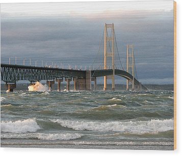 Stormy Straits Of Mackinac Wood Print by Keith Stokes