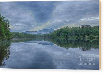 Stormy Sunrise Over Price Lake - Blue Ridge Parkway I Wood Print by Dan Carmichael
