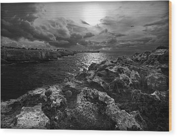 Blank And White Stormy Mediterranean Sunrise In Contrast With Black Rocks And Cliffs In Menorca  Wood Print