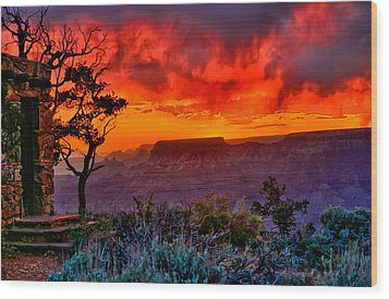 Stormy Sunset At The Watchtower Wood Print by Greg Norrell