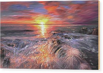 Stormy Sunset At Water's Edge Wood Print by Angela A Stanton