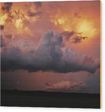 Stormy Sunset Wood Print by Ed Sweeney