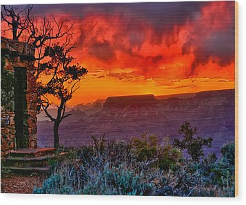 Stormy Sunset Greeting Card Wood Print by Greg Norrell