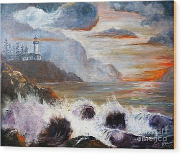 Stormy Sunset Wood Print by Lee Piper