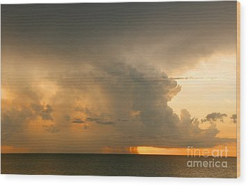 Stormy Sunset Wood Print by Mariarosa Rockefeller