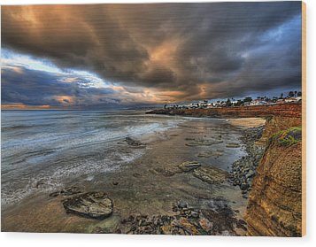 Stormy Sunset Wood Print by Peter Tellone