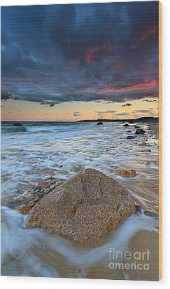 Stormy Sunset Seascape Wood Print by Katherine Gendreau