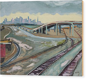 Wood Print featuring the painting Stormy Train Tracks And San Francisco  by Asha Carolyn Young
