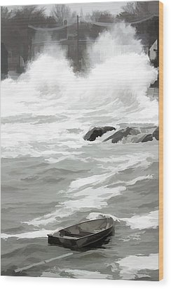 Wood Print featuring the photograph Stormy Waves Pound The Shoreline by Jeff Folger