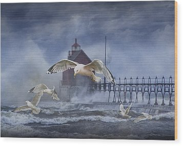 Stormy Weather At The Grand Haven Lighthouse Wood Print by Randall Nyhof