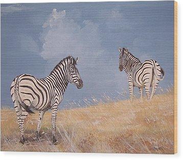 Stormy Zebra Wood Print by Robert Teeling