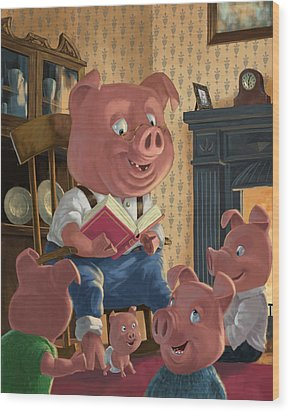 Story Telling Pig With Family Wood Print by Martin Davey