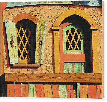 Storybook Window And Door Wood Print by Rodney Lee Williams