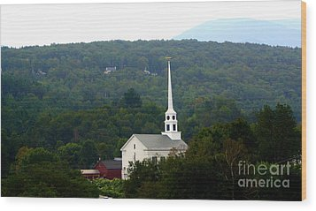 Stowe Community Church Wood Print by Patti Whitten