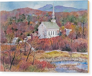 Stowe Village Wood Print by Sherri Crabtree