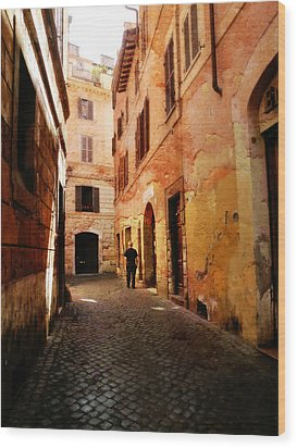 Wood Print featuring the photograph Strade Di Ciottoli by Micki Findlay