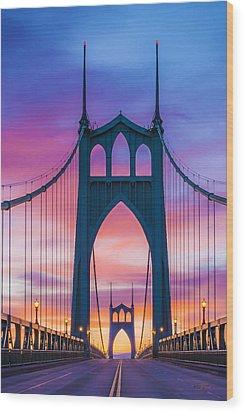 Straight Down The Bridge Wood Print